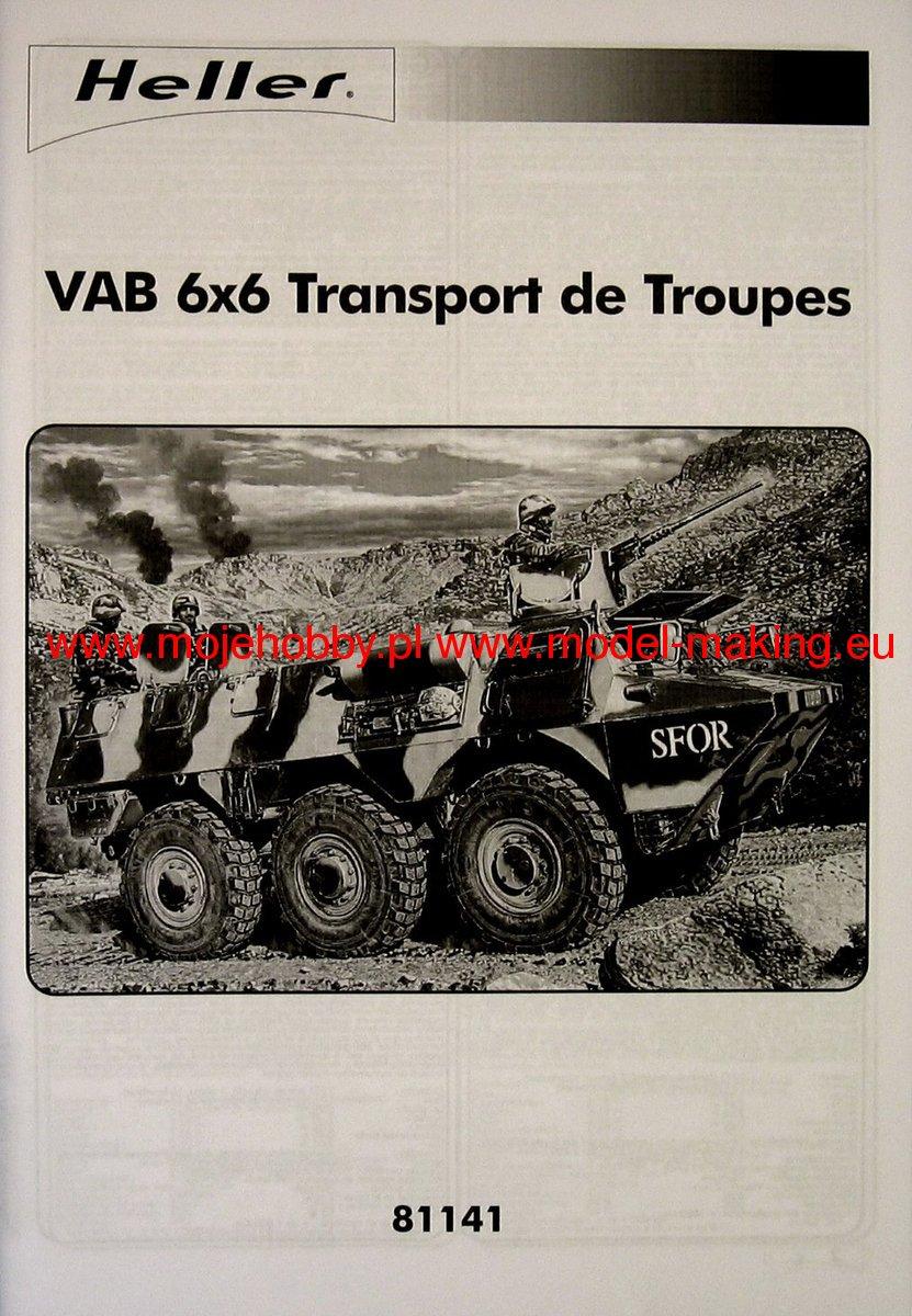 vab 6x6 transport de troupes heller 81141. Black Bedroom Furniture Sets. Home Design Ideas