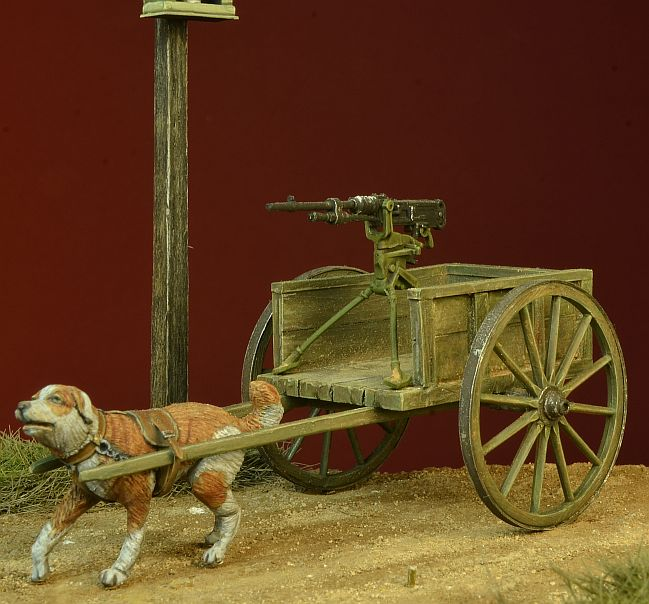 WWI Dog-drawn Cart with Hotchkiss Machine Gun - Image 1