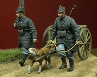 WWI Belgian Dog-drawn Cart with Crew 1914-15 - Image 1