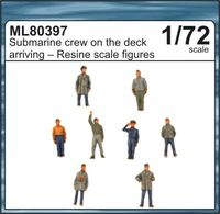 Submarine crew on the deck arriving