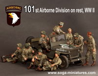 101st Airborne Division on rest, WW II 9 figures - Image 1
