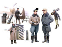 WWII German Luftwaffe Pilots and Ground Personnel in Winter Uniform - Image 1