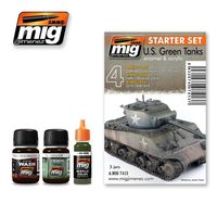 A.MIG 7413 US Green Tanks - Enamel & Acrylic Set