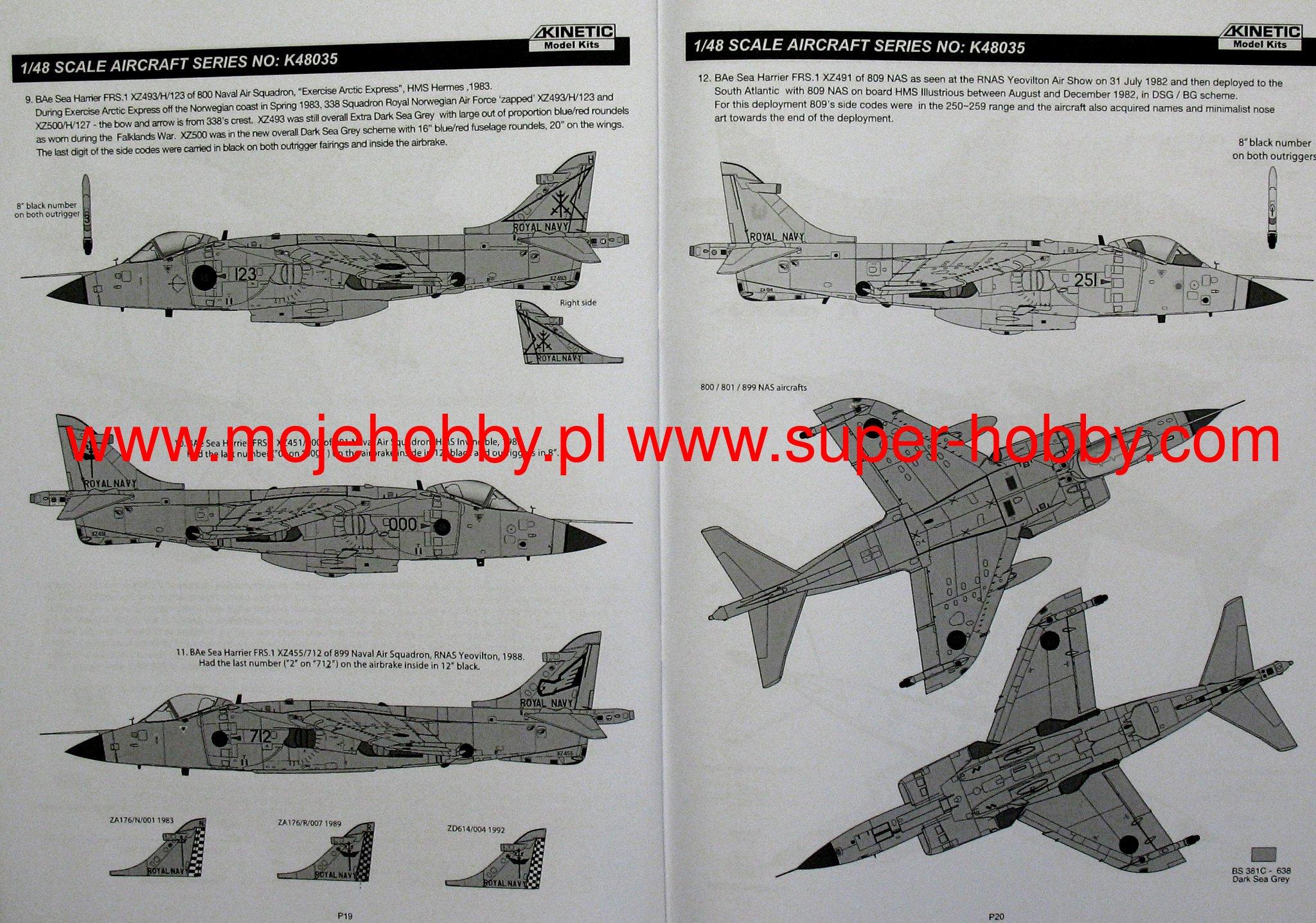 KINETIC MODEL kit FA.2 Sea Harrier échelle 1//48