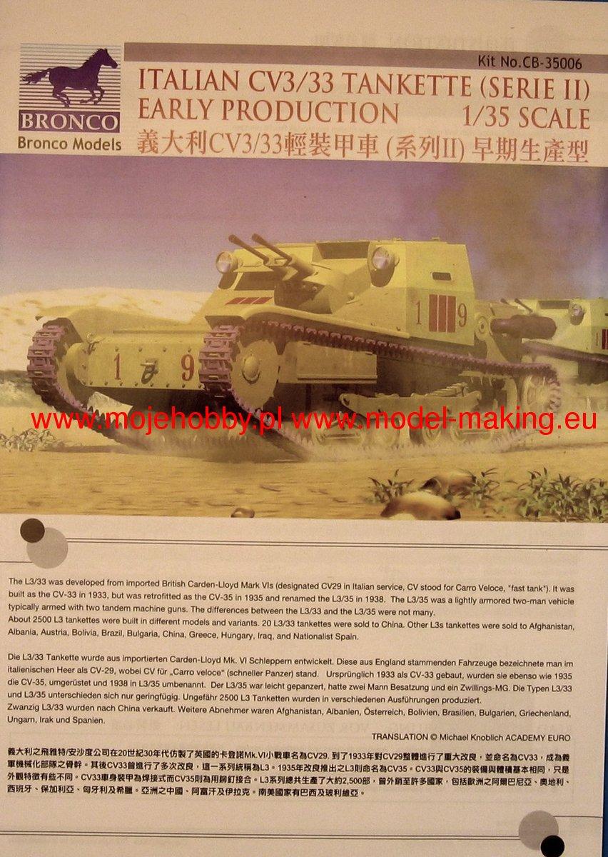 italian cv l3  33 tankette serie ii bronco cb35006