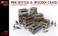 WINE BOTTLES & WOODEN CRATES - Image 1