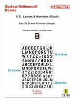 U.S. Letters and Numbers Black (size 28, 32 i 38 cali) - Image 1